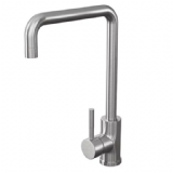 Brushed Stainless Steel Squared Spout Monobloc Sink Tap - 584K2021